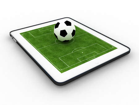Football field on tablet, isolate photo