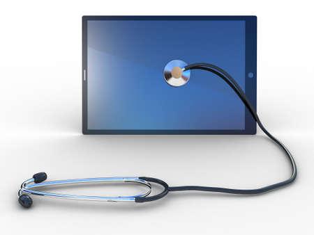 virus informatico: Estetoscopio en el tablet negro, ordenador, las imágenes en 3D Foto de archivo