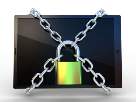 3d illustration of tablet computer locked with chains and padloc Stock Illustration - 23562383