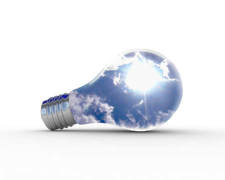 Illustration of an electric light bulb with clean and safe sky inside it illustration