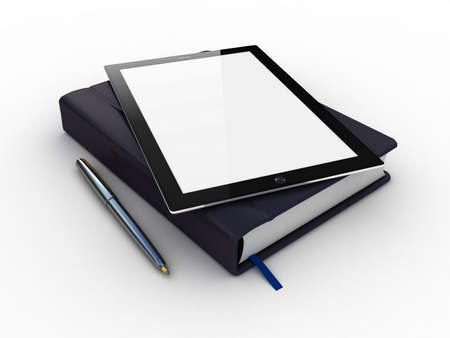 Notebook and pen and tablet on white background Stock Photo