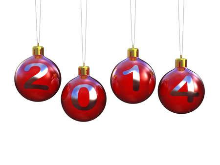 Decoraci�n del �rbol de Navidad y el 2014 el texto Foto de archivo - 24229898