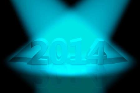 2014 inscription and volumetric light, 3D images photo