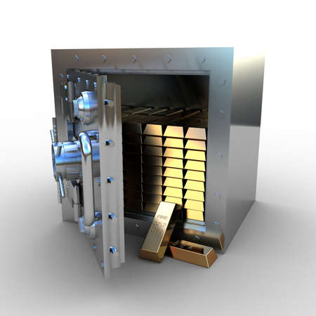 Opened safe with gold ingot, 3d photo