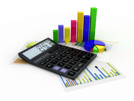 Calculator, financial reports and graphics, 3D images