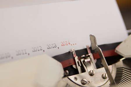 2014 year on typewriter photo