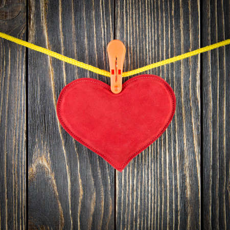 Red Heart with Clothespin photo