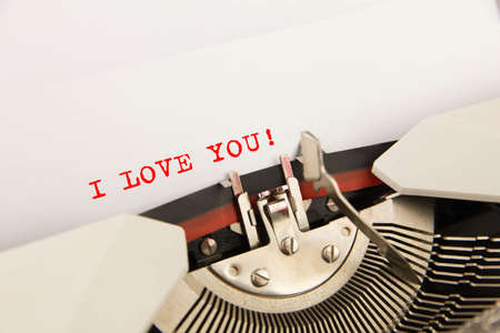 I Love You  printed on a clean sheet to the typewriter photo