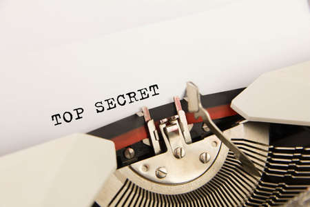 Top secret  printed on a clean sheet to the typewriter photo