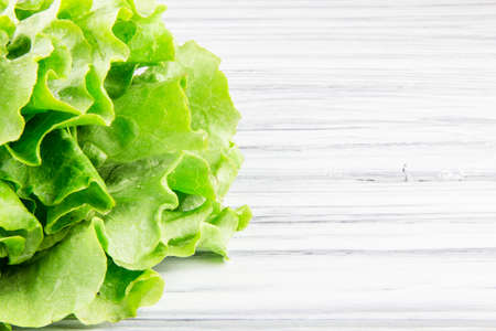 lettuce salad on a white  wood background