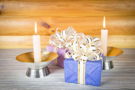 Gift and romantic candlelight photo