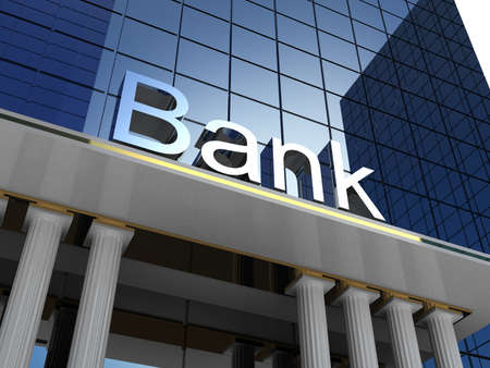 banking: Bank building, 3D images