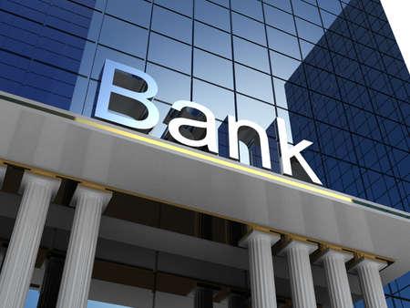 Bank building, 3D images Reklamní fotografie - 34347209