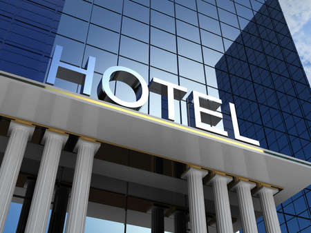 hotel sign: Hotel building, 3D images