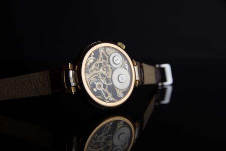 Wristwatch on black background Stock Photo
