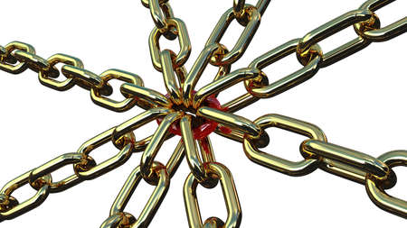 Chain links with red on a white background Stock Photo