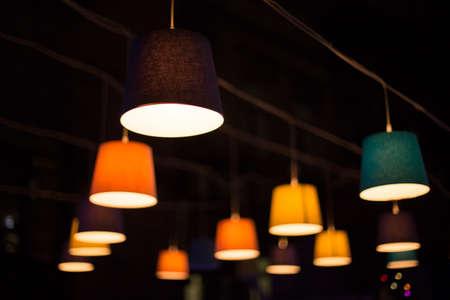 lampshade: Round stylish lampshade on dark background Stock Photo