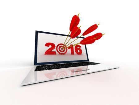 laptop screen: Target 2016 on laptop screen