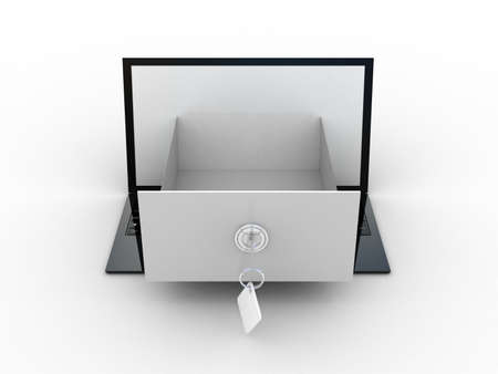 search box: The laptop with an open box on the screen. 3d illustration of information search metaphor Stock Photo