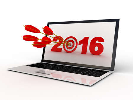 laptop screen: Target 2016 on laptop screen