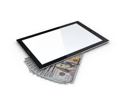 cash money: Tablet and cash money