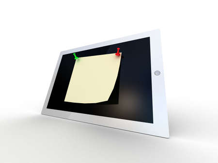 thumbtack: Color  thumbtack and tablet computer on white background, 3D