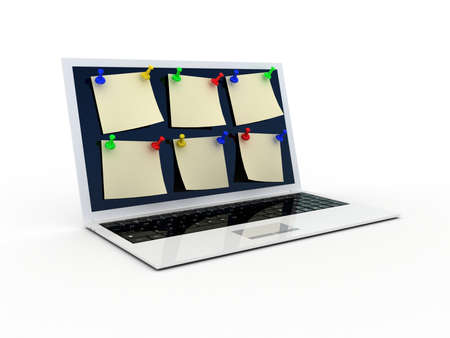 thumbtack: Color  thumbtack and laptop on white background, 3D Stock Photo