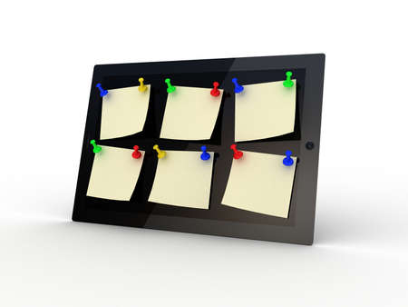 Color  thumbtack and tablet computer on white background, 3D