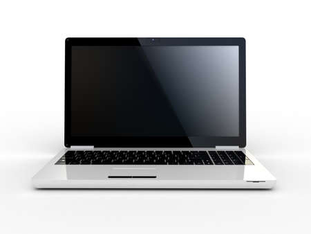 lcd: Laptop on white background