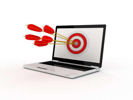 laptop screen: Target on laptop screen Stock Photo