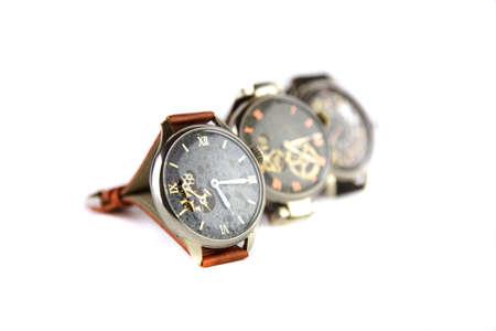 luxury goods: Mans watch on white background. Luxury goods.