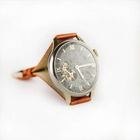 mans watch: Mans watch on white background. Luxury goods.
