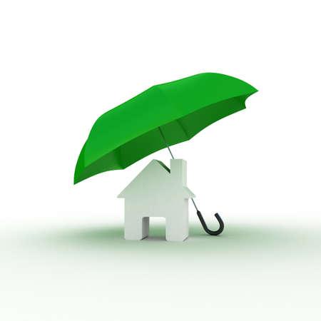 House under umbrella, 3D illustration