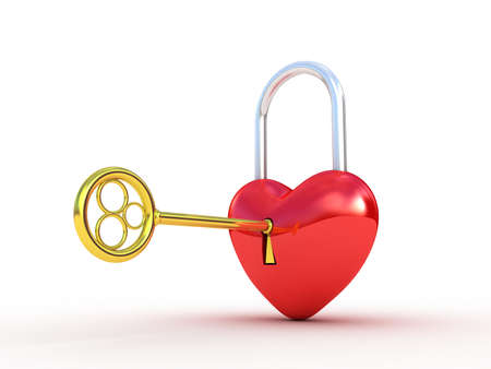 large group of objects: Red heart lock on white background. 3D illustration