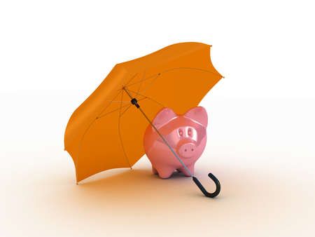 Pink piggy under umbrella. 3D illustration