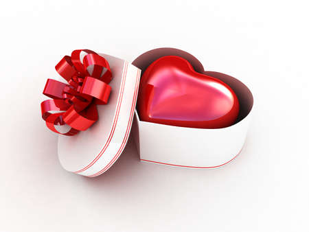 red gift box: Gift box with red heart. 3D illustration