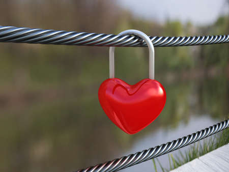 Red heart lock on nature background. 3D illustration
