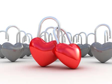 door lock love: Red heart lock on white background. 3D illustration