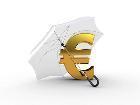 Golden euro under umbrella. 3D illustration