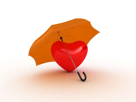 Red heart under umbrella. 3D illustration