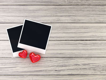 instant message: Photo and red heart on background Stock Photo