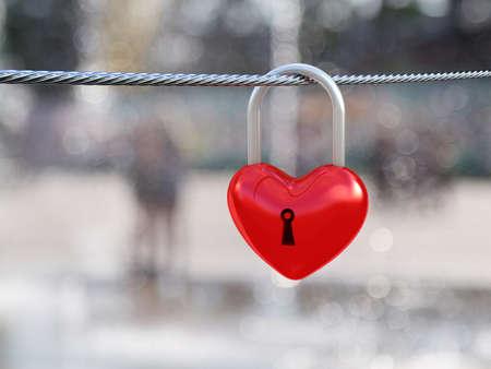 door lock love: Red heart lock on nature background. 3D illustration