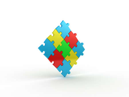 green issue: Colored puzzle on white background. 3D illustration