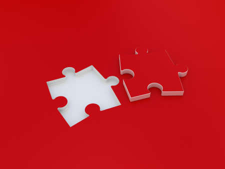 Puzzle double on red background. 3D illustration