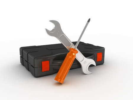Wrenchles and screwdriveron white background. 3D illustration