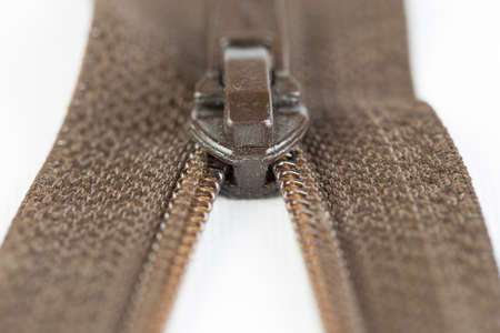 Zipper on white background Stock Photo