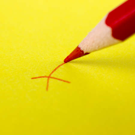 Macro photography of check mark on color background