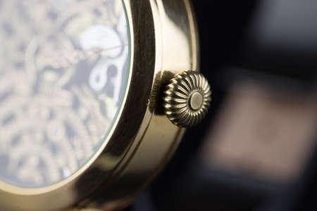 Men's luxury wristwatch on black background Stockfoto