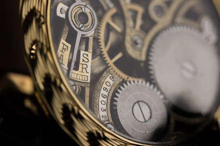 Mens luxury wristwatch on black background