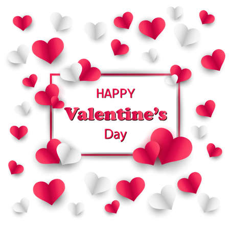 Happy Valentines Day. Hearts on white background. Vector illustration